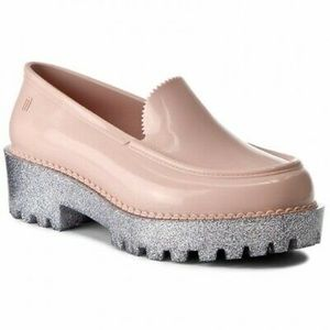 Melissa Panapana Pink Silver Platform Loafers 8
